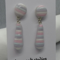 Handmade candy  striped ceramic earrings