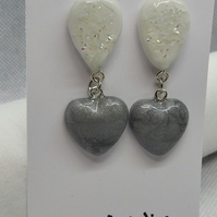white crystal and silver heart ceramic earrings