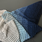 Blue Ombré Crocheted Macaw Wing Shawl Scarf
