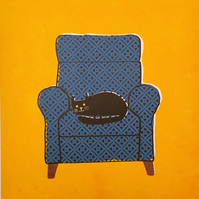 CAT ON BLUE CHAIR, LIMITED-EDITION, SCREEN PRINT