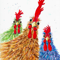 Funky Chicken Girls at Hen Party, Original Watercolour Painting