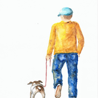 Taking the Dog for walkies, original painting