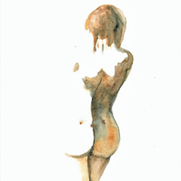 Nude woman standing original watercolour painting