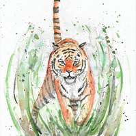 Tiger, wild cat, jungle cat, original painting