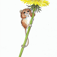 Cute Little Mouse and Dandelion Flower, original painting