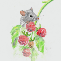 Cute Field Mouse and Raspberries art, original painting