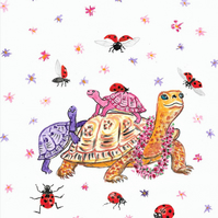 Turtles and Ladybirds Painting, Parent and Babies, original art
