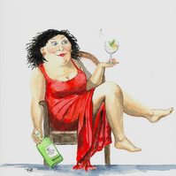 Daily Tonic Painting. Girl with her Gin and Tonic.