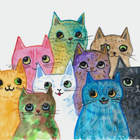 Colourful Cats together painting