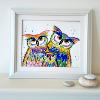 SOLD  Owl Family. Original watercolour painting