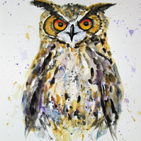 Owl portrait painting