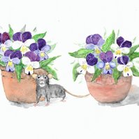 Little Fieldmouse and pots of Violet Flowers. Painting