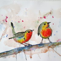 Garden Birds on branch. Original watercolour painting