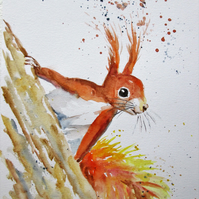 Cute Red Squirrel on a Tree. Original painting