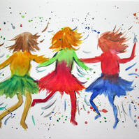 Dancing Girls. Colourful painting for children