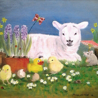 Easter time oil painting. Lamb, mouse, chick and duckie