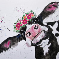 Cute cow with flowers painting. Original art