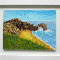 Durdle Door painting. Ready to hang