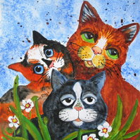 Three cute Cats original painting