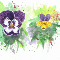 Pansy and Viola flowers original painting, with abstract background.