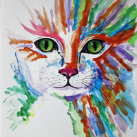 Colourful cat art. Original painting