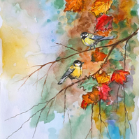 Two Birds in an Autumn Tree. Original painting