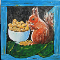 Squirrel and his nuts. Original oil painting