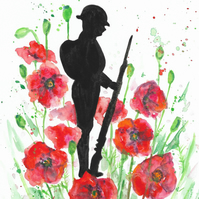 Soldier and Poppies. Original painting