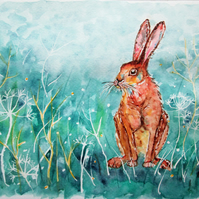 Hare sitting with turquoise background. Original painting