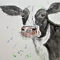 Cow painting. Original watercolour painting