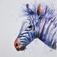 Zebra in purple stripes. Original painting