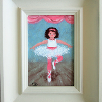Little Ballerina Centre Stage. Original framed acrylic painting