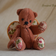 "Summer, miniature teddy bear, 3"" jointed bear"