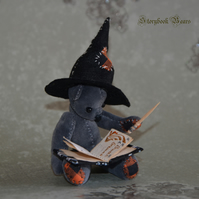 "Wendy the Wee Witch, miniature teddy bear, 3"" handmade jointed bear"