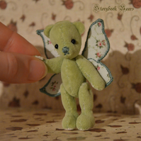 "Rosalyn, miniature teddy bear, 3"" jointed teddy bear"