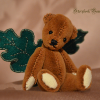 "Acorn, miniature teddy bear, 3"" jointed original bear"