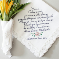 Mother of The Bride Handkerchief - Today a bride- Hankie Hanky-gift for mom, mob