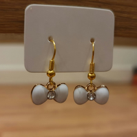 White and Gold Bow Charm Earrings