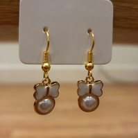 White Butterfly Pearl Charm Earrings