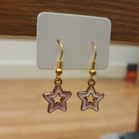 Baby Pink Star Charm Earrings