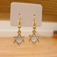 White and Gold Hexagram Star Charm Earrings