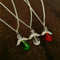 Crystal Guardian Angel Necklace - Clear, Red, Green or Blue