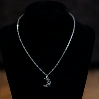 Silver Fairy Moon Necklace - Stainless Steel or Sterling Silver