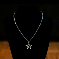 Double-Star Charm Necklace - Stainless Steel or Sterling Silver
