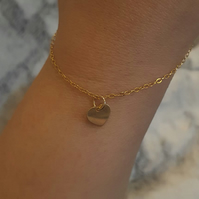 Gold Loveheart Charm Bracelet - 14K Gold Filled or Gold Plated