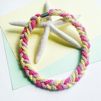 Knotted Cotton Statement necklace in hot pink and yellow (Free Shipping)
