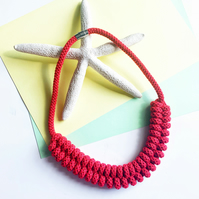 Statement red necklace, Sustainable cotton rope necklace, Gift for her