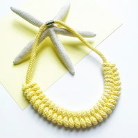 Knotted statement necklace,Cotton rope jewelry, choice of colors (Free Shipping)