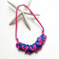 Hot pink cotton rope necklace with heart design, Chunky necklace (Free Shipping)