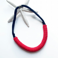Bright red statement necklace, Long cotton rope jewelry, Festive Jewellery